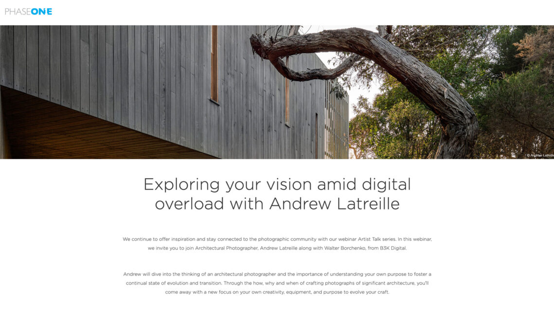 PhaseOne's Artist Talk Series Goes Live With Andrew Latreille